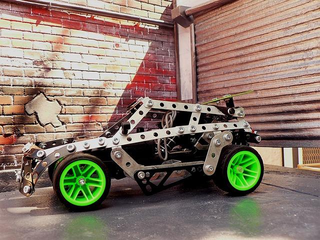Model auta v garáži s tehlovou stenou.jpg