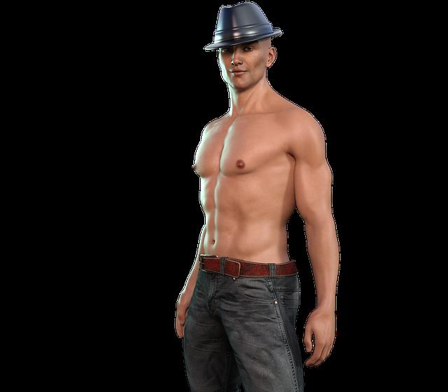 3D model, muž v klobúku, erotika
